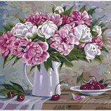Картина по номерам. Букеты Пионы и вишни 2 40х50см KHO2061