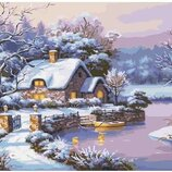 Картина по номерам Идейка. Сельский пейзаж Сказочная зима 40 50 см KHO2248
