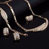 Набор бижутерии браслет, серьги, ожерелье и кольцо код 1724