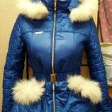 Модная куртка зима подстёжка флис 42р с рукавичками смотрите замеры