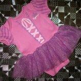 Сказочный бодик-платье rapunzel disney с фатиновой юбкой пачкой 0-6м