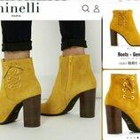 41р Замша,кожа Новые Minelli желтые замшевые ботинки,ботильоны