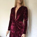 Платье бархатное на запах с декоративным узлом boohoo размер 12