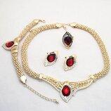 Ювелирный набор украшений ожерелье, кольцо, серьги и браслет код 1728