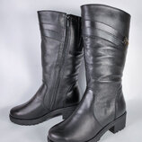 Зимние кожаные сапоги на маленьком каблуке на широкую ногу. До 42р. Днепр.