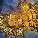 Гирлянда 20 LED металлические звезды теплый белый 20 metal-ww-4 3 метра