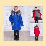 Зимнее пальто для девочки, 2 цвета, чернобурка, теплое, стильная моделька на р. 116-146