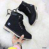 12101 ботинки женские, ботинки зимние, ботинки кожаные