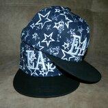 Бейсболка кепка новая летняя унисекс 56-58 тракер snapback Синяя со звездами