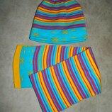 Новый детский тёплый зимний набор шапка и шарф яркий в полоску Oriflame