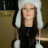 Зимняя шапка-ушанка для девочки розового цвета с белым мехом новая на Ог 52-54