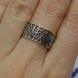 Серебряное кольцо каблучка обручка Тризуб патріотичне унисекс 925 18р-р