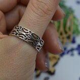Серебряное кольцо каблучка обручка Тризуб патріотичне унисекс 925 21р-р