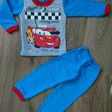 Пижама тёплая на баечке с начесом Тачки Маквин с машиной, начес Хлопок 80-86-92-98-104-110-116-122