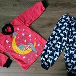 Пижама тёплая на баечке с начесом Кошечка, начес Хлопок 80-86-92-98-104-110-116-122