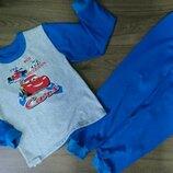 Пижама тёплая на баечке с начесом Тачки Маквин с машиной, начес Хлопок 92-98-104-110-116-122-128-134