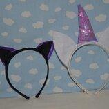 Красивый фирменный праздничный ободок ушки уши кошечки единорога к костюму