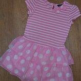 Платье полоска, горох, розовое 3-5 лет, 98-104 см