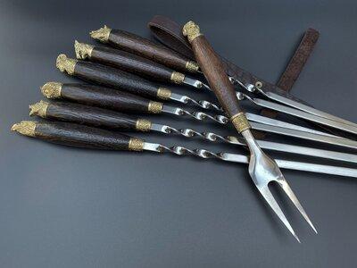 Шампуры Подарок охотнику набор с вилкой в кожаном колчане, 6шт