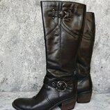 Сапоги женские демисезонные Clarks, черные сапоги, кожаные сапоги