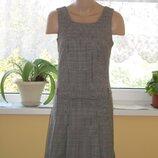 классическое платье в клетку с коротким рукавом