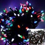 Гирлянда 100 Led 100 лампочек 8 метров черный провод мультицвет MIX