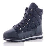 Женские ботинки зимние тёмно-синие