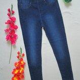 Шикарные стрейчевые джинсы скинни леггинсы с потёртостями высокая посадка Peacocks.