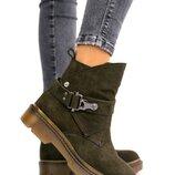 Женские ботинки, зима, нубук оливка