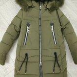 Тёплое зимние пальто девочке на флисе,рост 152см