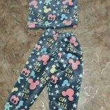 Пижама Пижамка махровая тёплая с манжетами Микки Минни Маус, махра велсофт 86-92-98-104-110-116-122