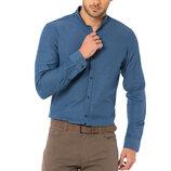 Синяя мужская рубашка LC Waikiki / Лс Вайкики с воротником-стойкой
