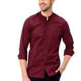 Бордовая мужская рубашка LC Waikiki / Лс Вайкики с воротником-стойкой и карманом на груди