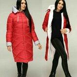 Пуховик женский зимний с капюшон Пальто зимнее стеганное на силиконе синтепоне 42-44-46-48-50-52-54