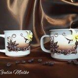 Чашки с декором из полимерной глины. Чайная пара Ванильный дуэт .