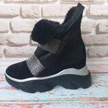 Женские зимние ботинки на платформе натуральные кожа и мех