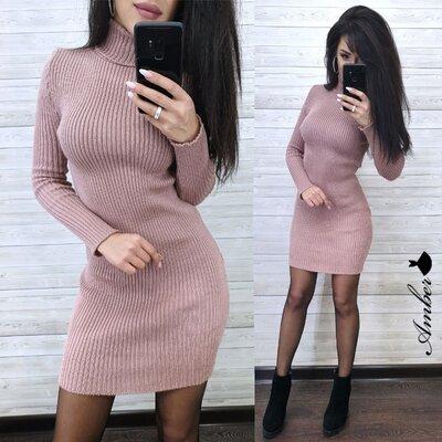 женское вязаное платье гольф amd 4314