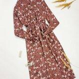 Винтажное вельветовое платье миди в цветочный принт рубчик