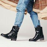 Зимние кожаные казаки, ботинки полусапоги кожа зима