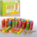 Игра деревянная Башня Цифры, счет с молоточком и кубиками 1540
