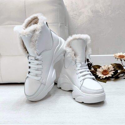 Новинка Теплющие натуральные кожаные женские зимние ботинки на шнуровке 36,37,38,39,40,41