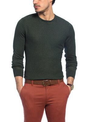 Зеленый мужской свитер LC Waikiki / Лс Вайкики тонкий, с фактурной передней планкой
