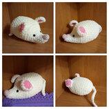 Вязаная игрушка символ 2020 года плюшевая белая мышка, крыска, мишка