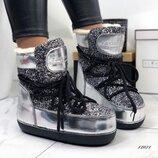 Женские угги луноходы серебро Moon Boot