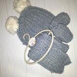 Вязаный комплект из шапки с помпонами, шарфа и перчаток Next 3-9 мес