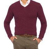 Бордовый мужской свитер LC Waikiki / Лс Вайкики фактурной вязки, с V-образным вырезом