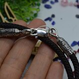 Серебряный шнурок нейлон візерунок на шею унисекс 5мм 925 все размеры