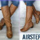 40р Кожа Airstep,A.S.98Италия кожаные винтажные высокие сапоги с эффектом старения