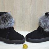 Угги женские ITTS TY3001 черные зима замша натуральная