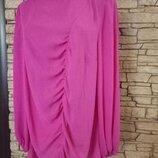 Яркая длинная блуза,туника, с длинным рукавом, большой размер, батал
